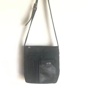 Vintage Perlina Black Leather Crossbody Bag